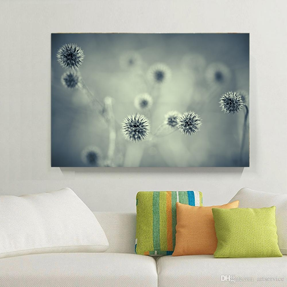 2018 1 Panels Blue Grey Landscape Dandelion Flower Home Decor Wall With Most Recent Dandelion Wall Art (View 1 of 20)