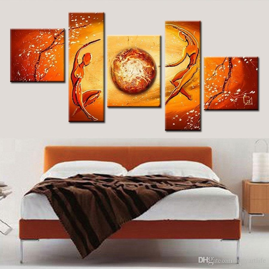 2018 100% Hand Made Modular Paintings Multi Panel Cancas Wall Art Throughout Recent Orange Wall Art (Gallery 10 of 20)