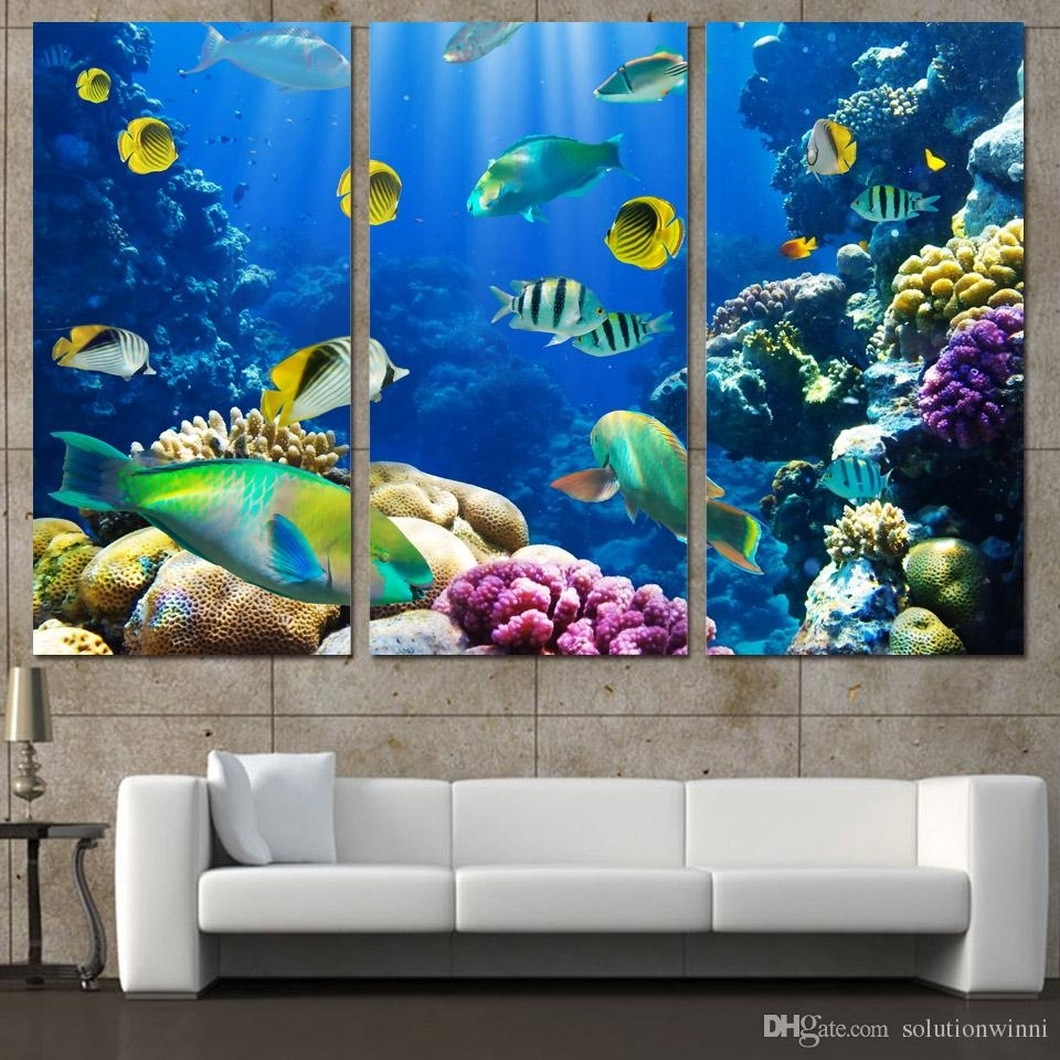 2018 3 Panels Canvas Art Tropical Coral Color Fish Home Decor Wall With Most Current Fish Painting Wall Art (View 3 of 20)