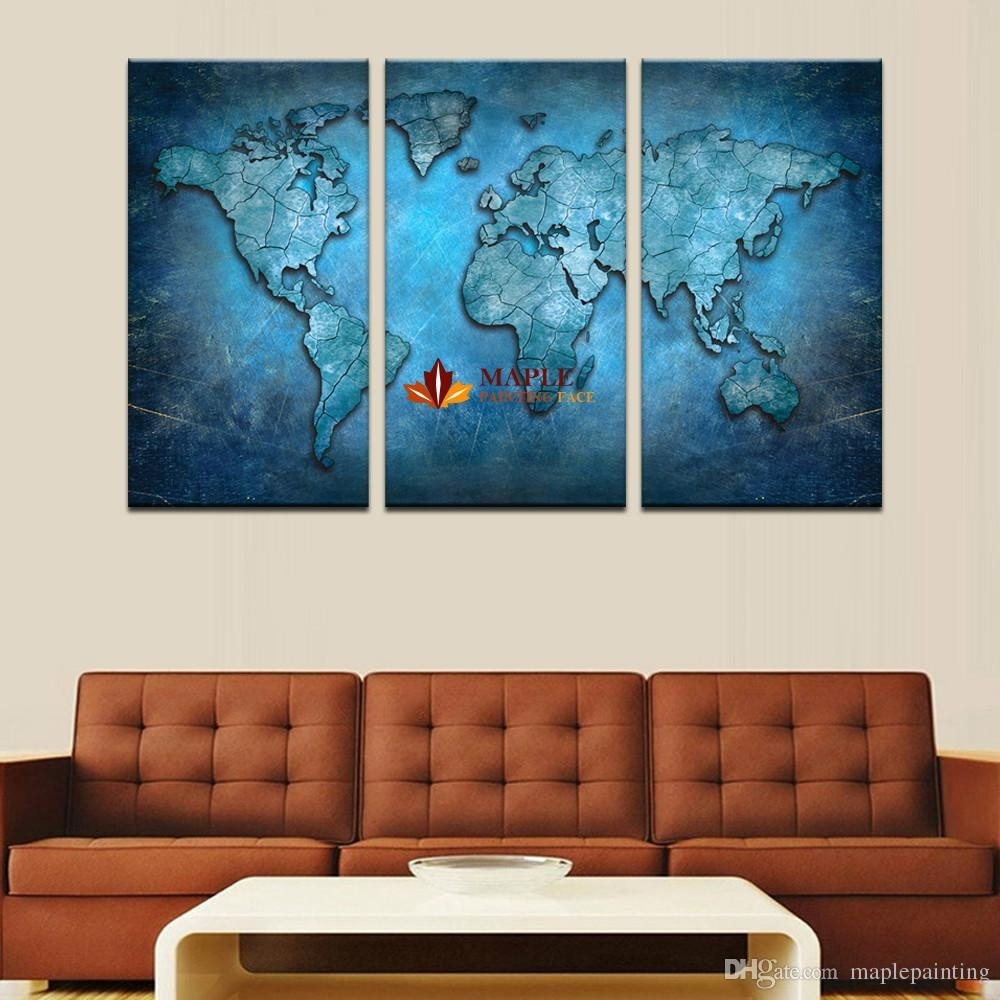 2018 3 Panels Large Modern Abstract Blue Map Hd Picture Canvas Print With Regard To Most Up To Date Large Framed Canvas Wall Art (View 1 of 20)