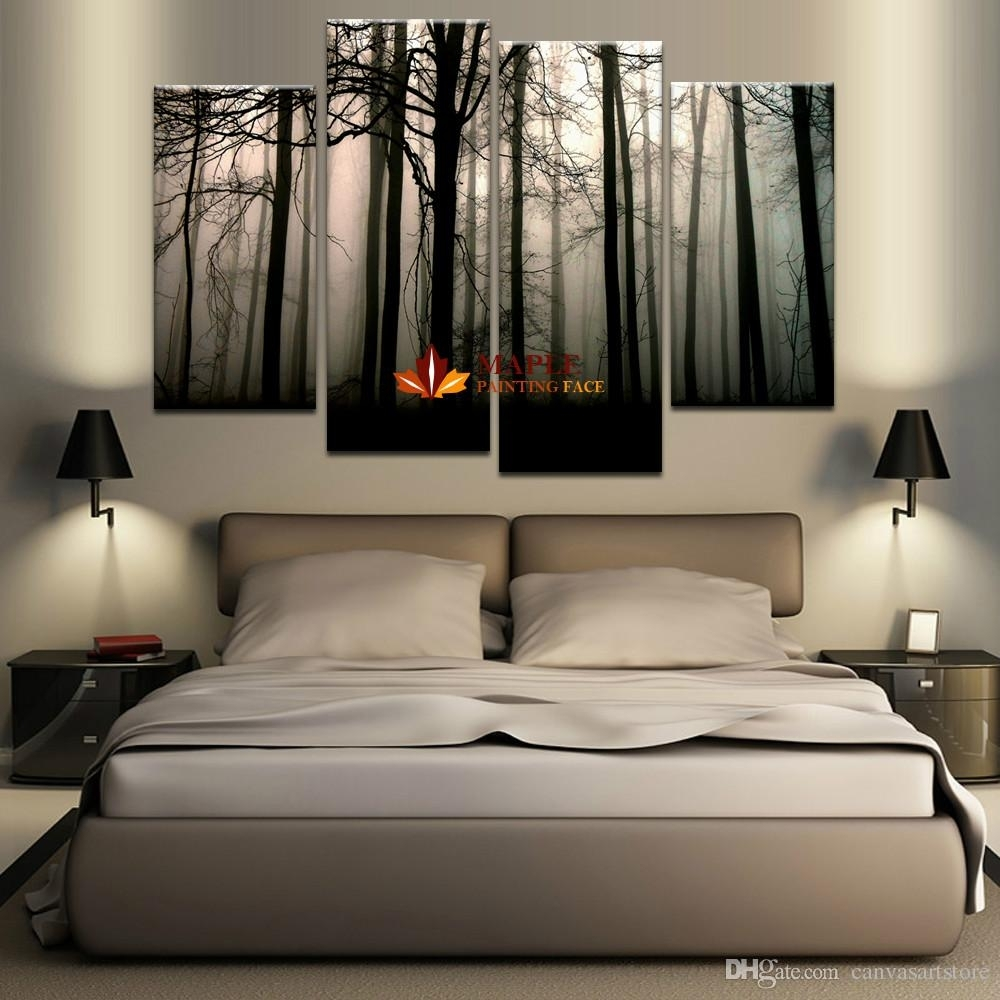2018 4 Panel Large Canvas Art Modern Abstract Hd Canvas Print Home In Latest Large Wall Art (View 2 of 15)