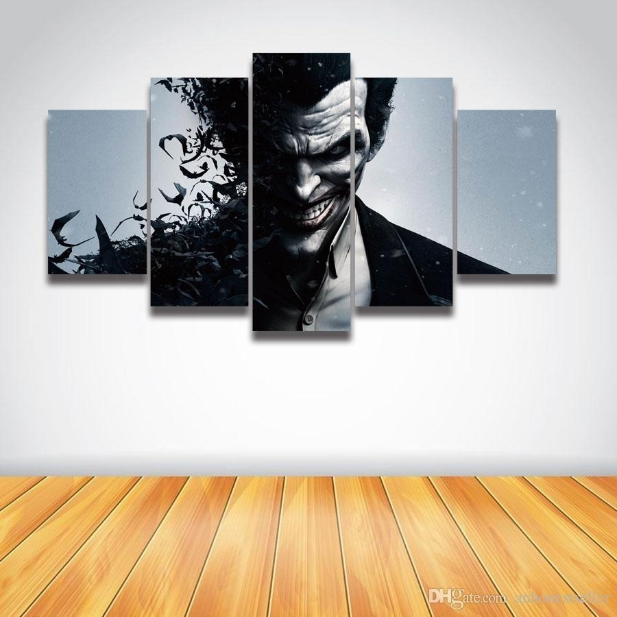 2018 5 Panel Canvas Wall Art Printed Picture Joker Painting For Wall With Best And Newest Joker Wall Art (Gallery 16 of 20)