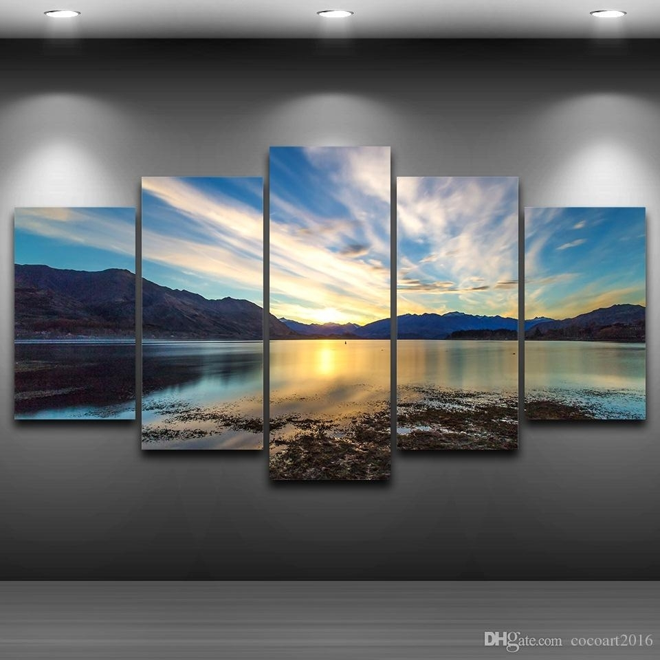2018 5 Panel Lake Sky Clouds Framed Wall Art Picture Spray Oil With Latest Framed Wall Art (View 11 of 15)