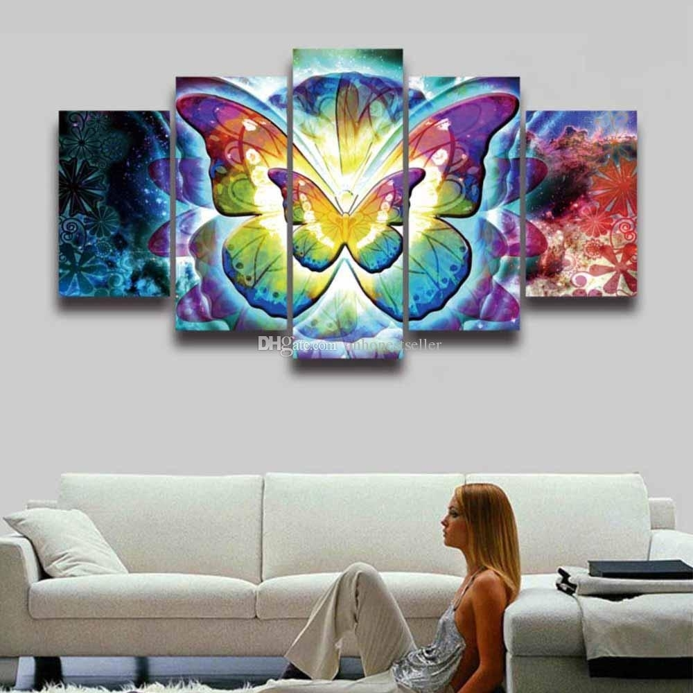 2018 5 Panel Painting Canvas Wall Art Colorful Butterfly Modular Within 2018 Colorful Wall Art (Gallery 6 of 20)