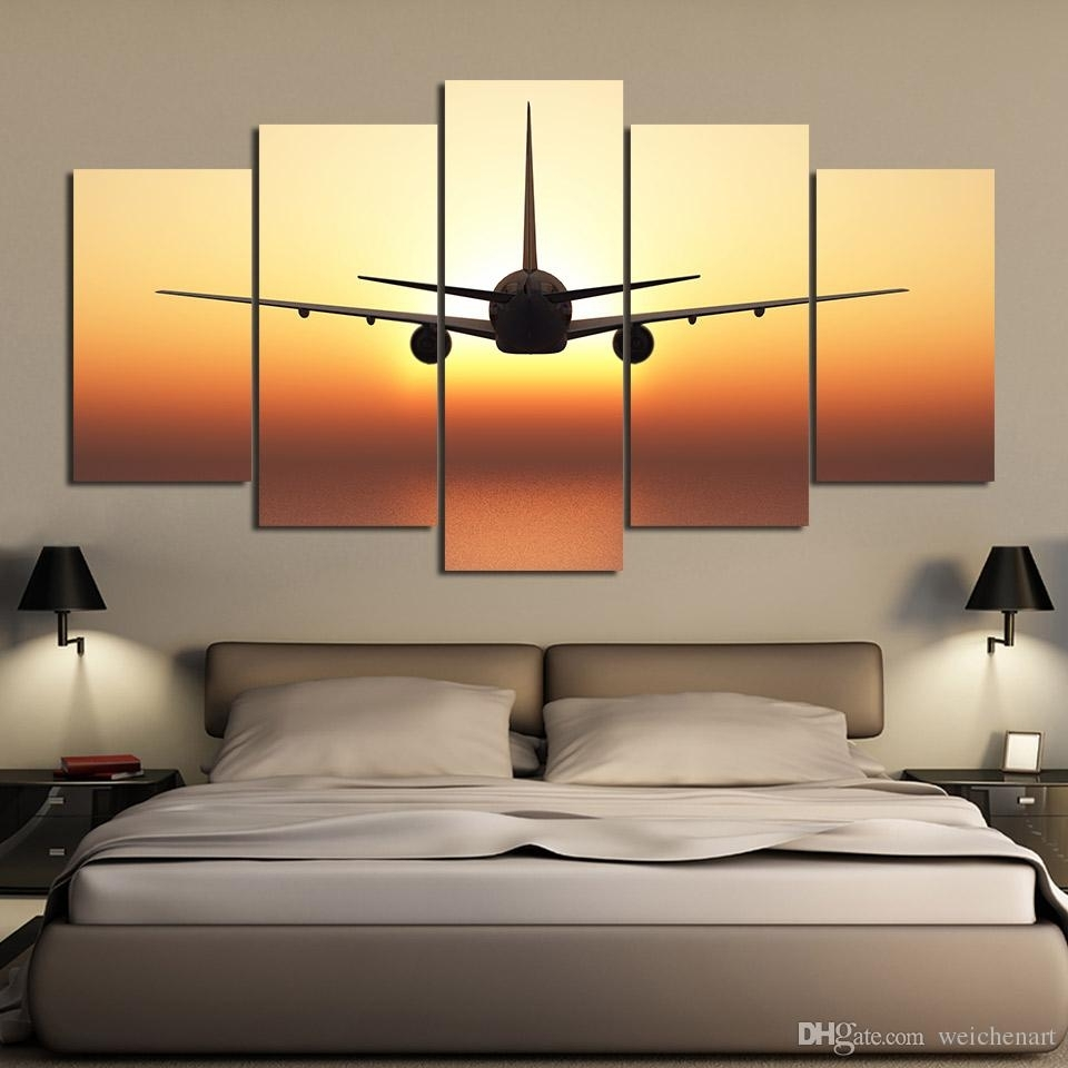 2018 5 Panel Wall Art On Canvas Airplane Sunset Wall Pictures For In Newest Airplane Wall Art (View 7 of 20)