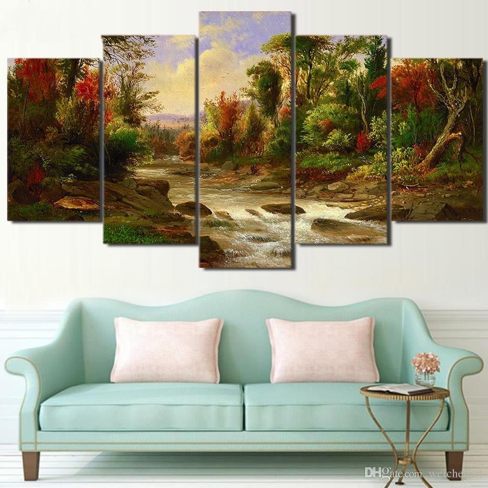 2018 5 Panel Wall Art On Canvas Citadel In Forest Modular Large Inside Most Current Cheap Large Canvas Wall Art (View 1 of 20)