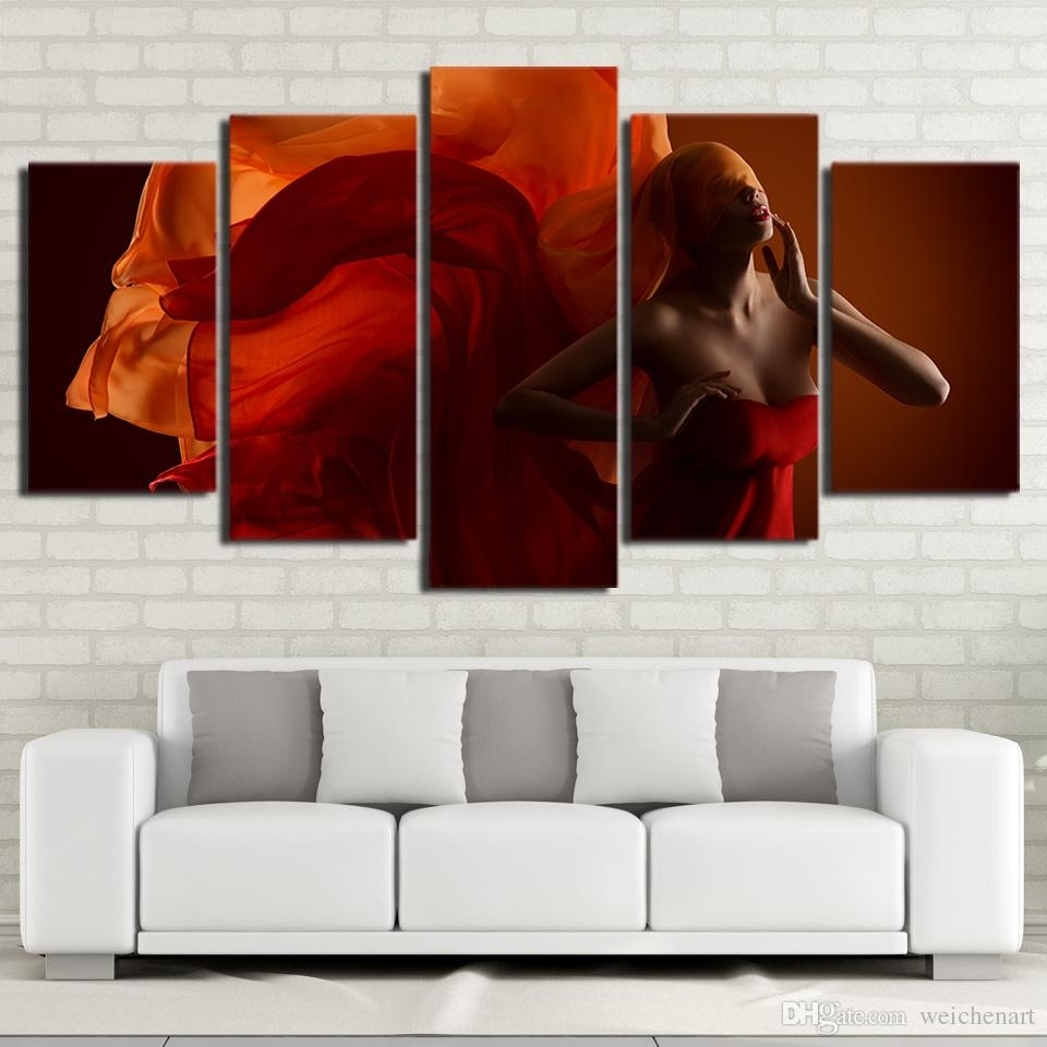 2018 5 Panel Wall Art On Canvas Sexy Woman In Red Canvas Pictures With Regard To Most Popular 5 Panel Wall Art (View 1 of 20)