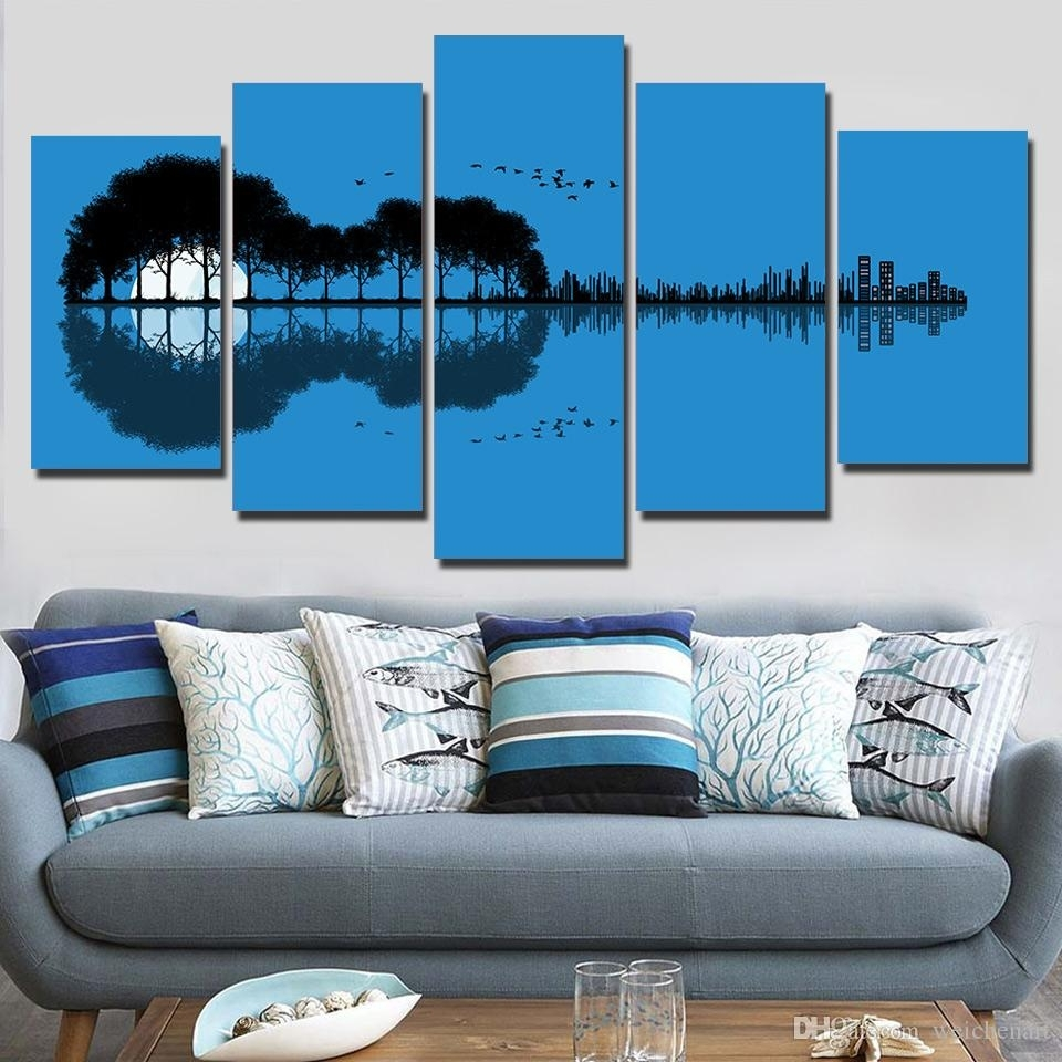 2018 5 Panel Wall Art On Canvas Tree Guitar Reflection Wall Picture Pertaining To Best And Newest 5 Panel Wall Art (Gallery 6 of 20)