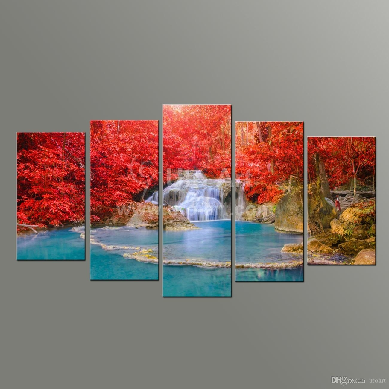 2018 5 Panel Wall Art Paintings Landscaping Waterfall Picture And With Current Wall Art Paintings (Gallery 8 of 20)