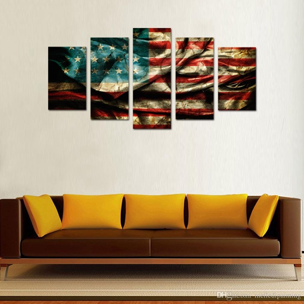 2018 5 Panels Retro American Flag Canvas Painting Wall Art Flag Within Best And Newest Wooden American Flag Wall Art (Gallery 18 of 20)