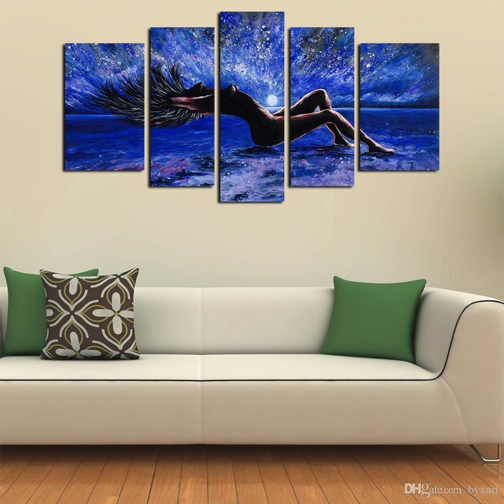 2018 5 Panels Sexy Girl Abstract Canvas Wall Art Women Naked Figure For Latest Canvas Wall Art (Gallery 7 of 15)