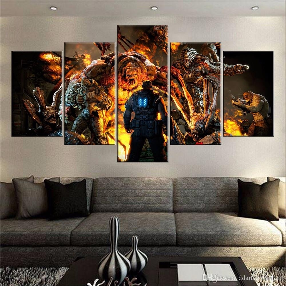 2018 60x32 Canvas Art Print, 5 Panels Game Living Room Wall Art Pertaining To Latest Large Framed Canvas Wall Art (View 9 of 20)