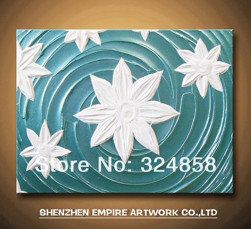 2018 Aqua Blue Turquoise White Water Lotus Lily Flowers Painting Pertaining To Newest Turquoise Wall Art (View 1 of 20)
