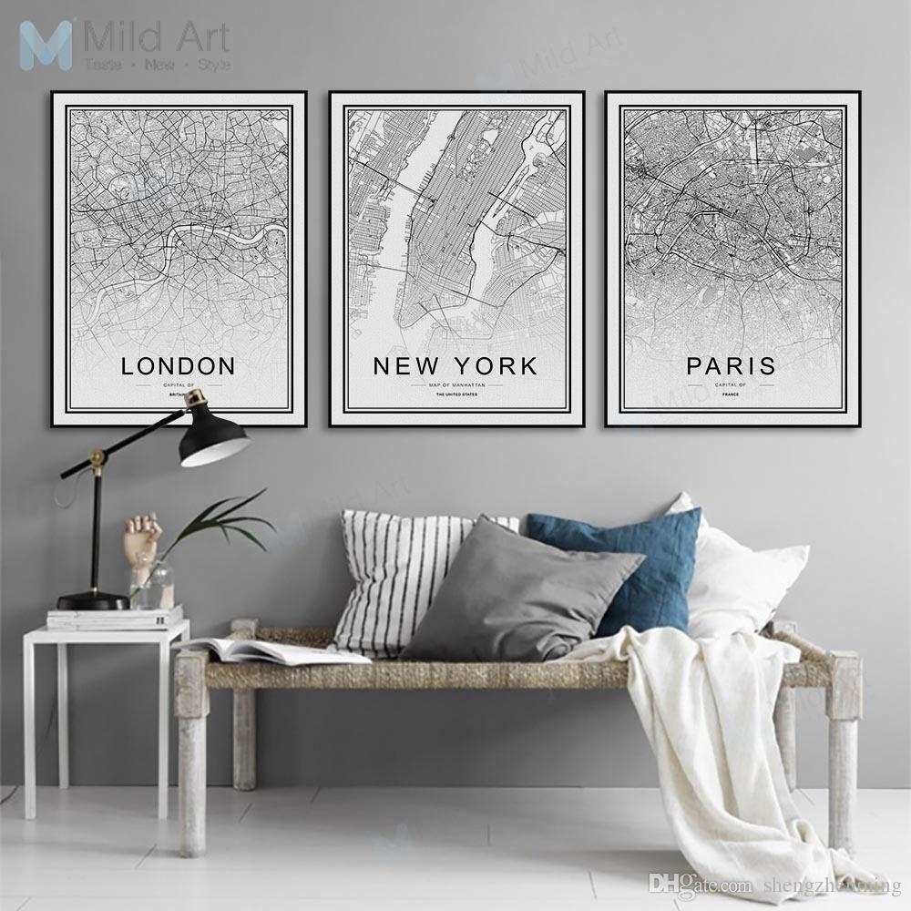 2018 Black White World City Map Poster Nordic Living Room London New Intended For 2017 Map Of Paris Wall Art (View 8 of 20)