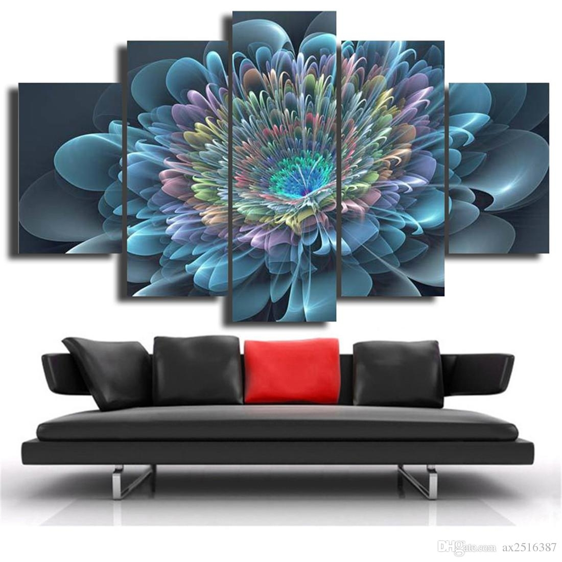 2018 Blue Transparent Flowers Canvas Print Painting Modern Canvas With Newest Modern Painting Canvas Wall Art (View 1 of 20)