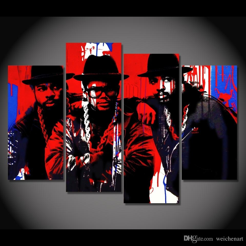 2018 Canvas Painting 4 Panels Canvas Art Black Hip Hop Singer Poster Throughout Most Popular Hip Hop Wall Art (View 1 of 15)