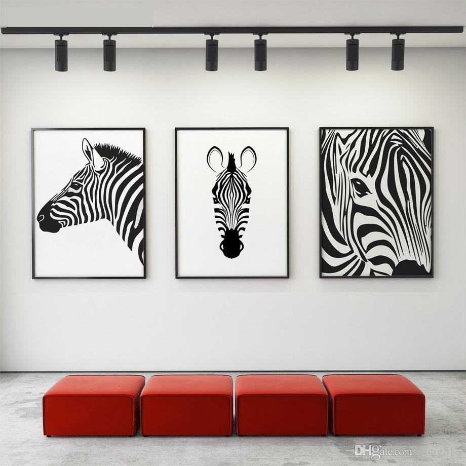 2018 Canvas Painting Nordic Black White Animal Horse Wall Art Canvas Within Most Current Black Wall Art (View 1 of 20)