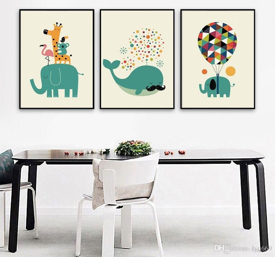 2018 Canvas Painting Nordic Watercolor Cartoon Animals Whale Inside Most Recent Whale Canvas Wall Art (View 15 of 20)