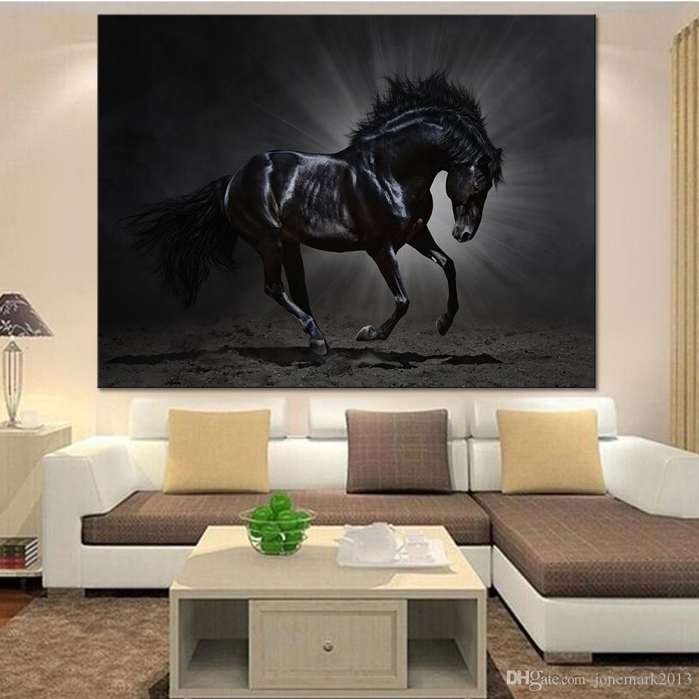 2018 Canvas Painting Wall Art Home Decor For Living Room /pcs Black With Regard To Most Recently Released Horse Wall Art (View 2 of 15)