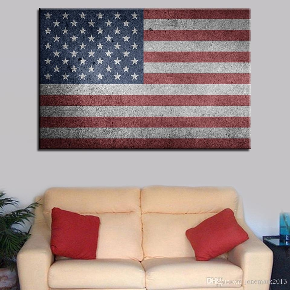 2018 Canvas Paintings Living Room Home Decor Wall Art /pcs Usa Flag In Latest Vintage American Flag Wall Art (View 1 of 20)