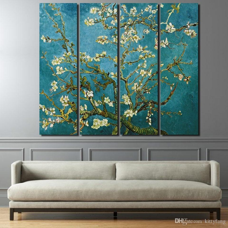2018 Canvas Paintings Printed Flowering Cherry Trees Wall Art Canvas Within Most Popular Wall Art Canvas (Gallery 14 of 15)