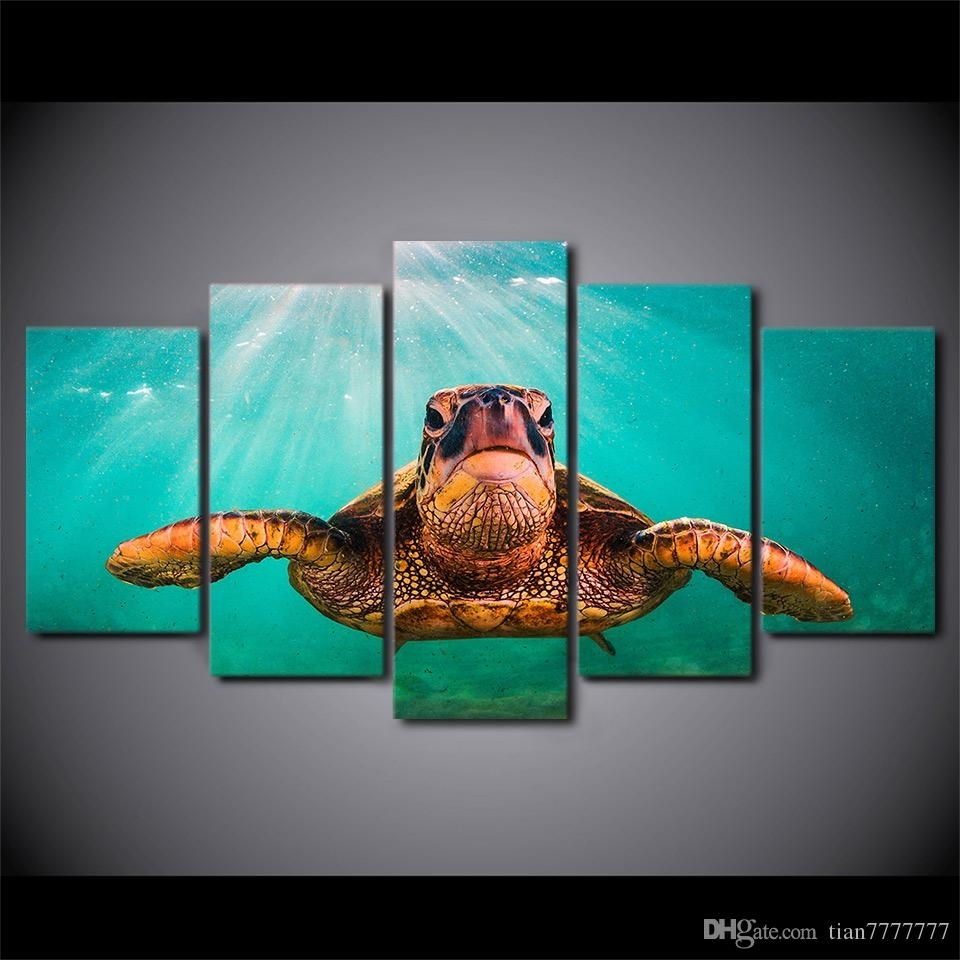 2018 Canvas Print 5 Panel No Frame Painting Wall Art Home Decor With Regard To Recent Sea Turtle Canvas Wall Art (View 1 of 20)