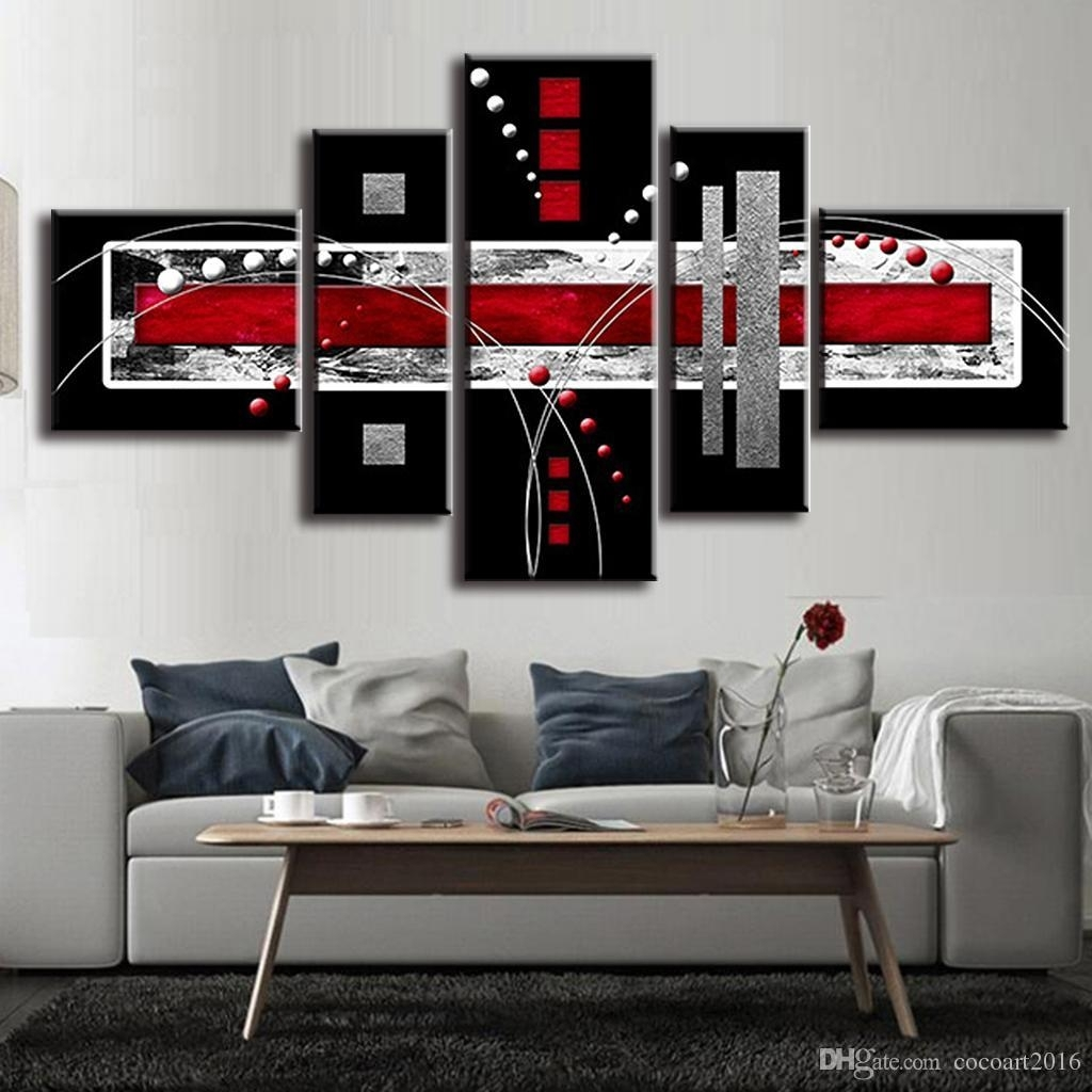 2018 Combined Abstract Canvas Art Red Black Grey Canvas Wall Picture In Latest Red And Black Canvas Wall Art (View 1 of 20)