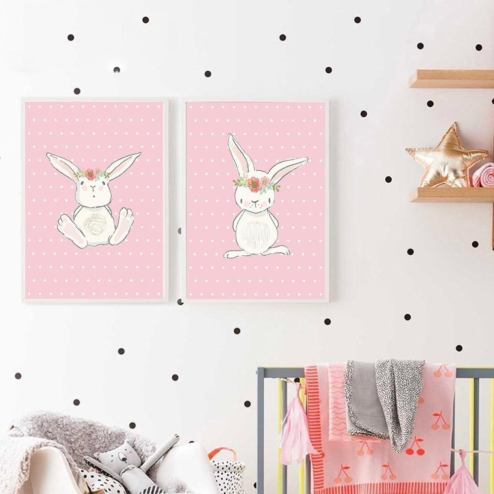 2018 Cute Pink Rabbit Bunny Wall Art Canvas Posters Cartoon Animal Inside 2018 Bunny Wall Art (Gallery 3 of 20)