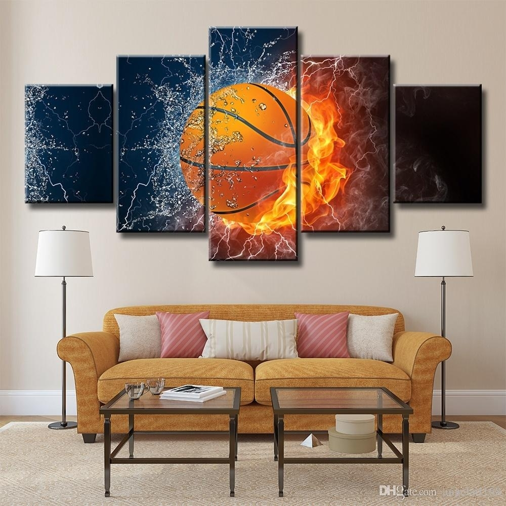 2018 Fired Basketball Unframed Wall Art Oil Painting On Canvas For Best And Newest Basketball Wall Art (View 1 of 15)