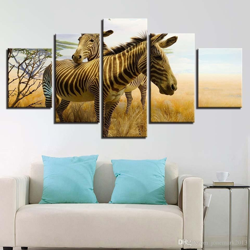 2018 Frame Painting Canvas Wall Art Modular Printed Hd 5 Panel Throughout Most Recently Released Zebra Canvas Wall Art (View 13 of 20)