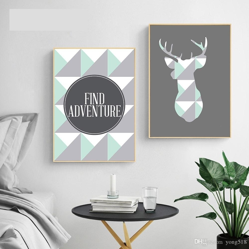 2018 Geometric Deer Arrow Wall Art A4 Canvas Posters Prints Nordic Within 2017 Arrow Wall Art (View 1 of 20)