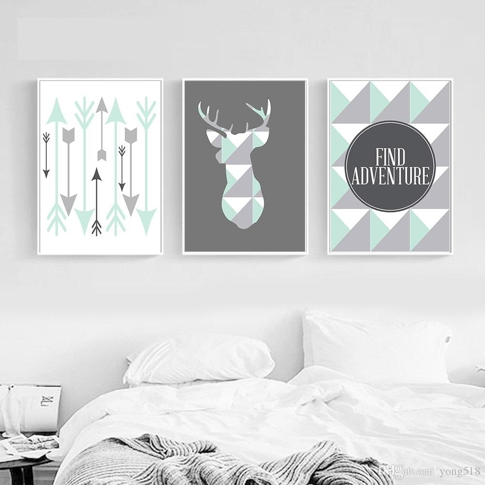 2018 Geometric Deer Arrow Wall Art Canvas Posters Prints Nordic Inside 2018 Arrow Wall Art (View 2 of 20)
