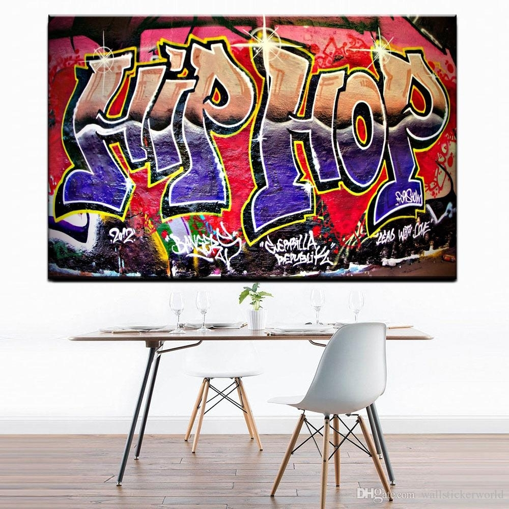 2018 Graffiti Street Art Hip Hop Paintings On Canvas Modern Wall With Most Recent Hip Hop Wall Art (View 2 of 15)