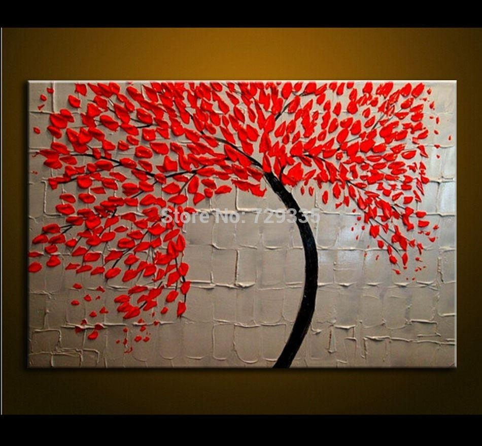 2018 Hand Made Oil Painting On Canvas Palette Knife Red Tree Flowers Pertaining To Most Current Cheap Canvas Wall Art (View 1 of 15)