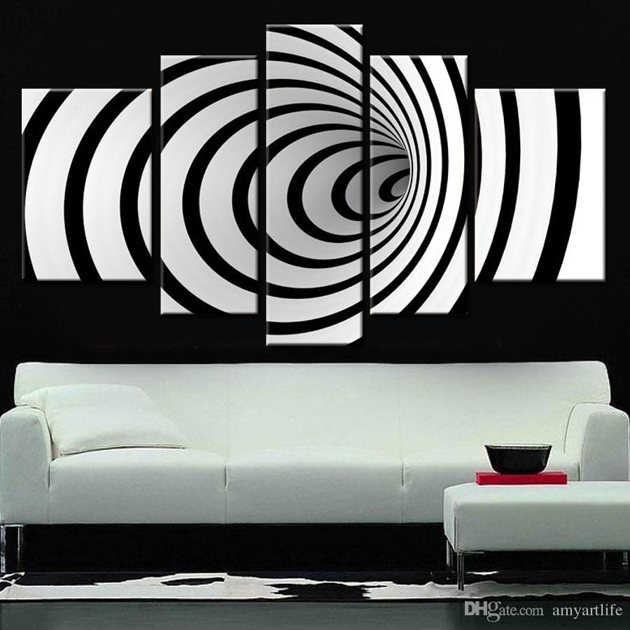 2018 Hand Painted Ideas Modern Canvas Art Picture Future Wall Art 3D With Regard To Current Black Wall Art (View 2 of 20)