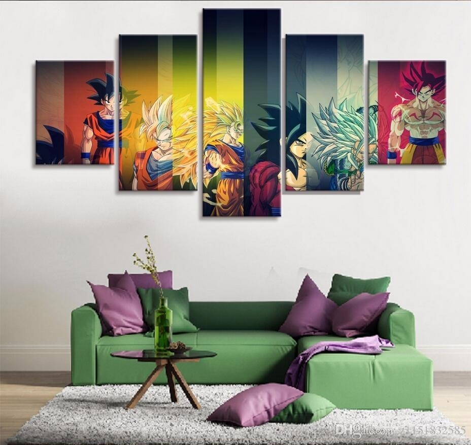 2018 Hd Print Painting Dragon Ball Z Goku Growth Paintings On Canvas Pertaining To Latest Dragon Wall Art (View 7 of 20)