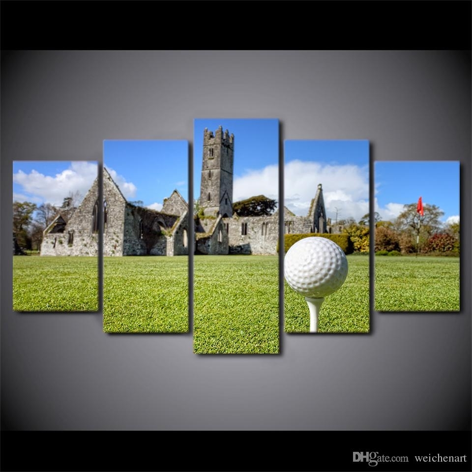 2018 Hd Printed Canvas Art Golf Course Painting House On Hills Wall In Most Up To Date Golf Canvas Wall Art (View 3 of 20)