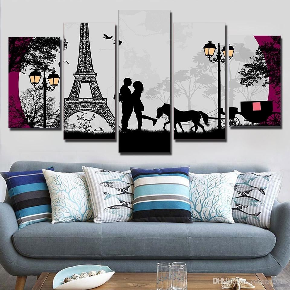 2018 Hd Printed Canvas Art Paris Eiffel Tower Moon Canvas Prints Regarding Most Up To Date Paris Wall Art (View 11 of 15)