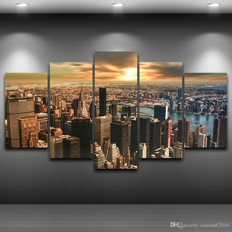 2018 Hd Printed Framed New York City Sunset Landscape Home Decor With Regard To Most Up To Date New York Wall Art (Gallery 8 of 20)