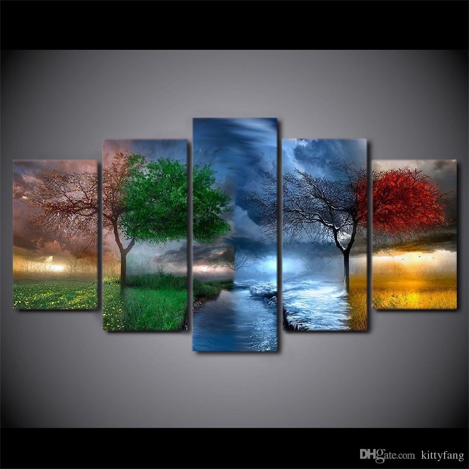 2018 Hd Prints Fantasy Nature 4 Seasons Tree Pictures Home Wall Art Within Most Recent Nature Wall Art (View 2 of 20)
