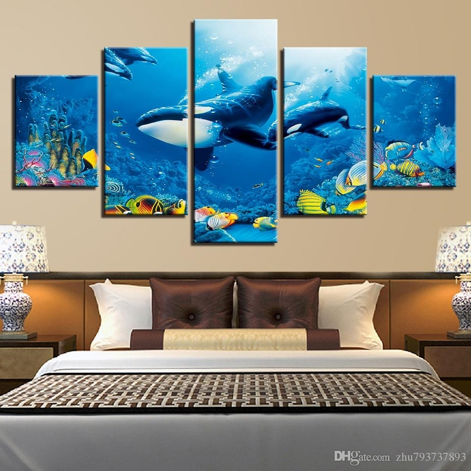 2018 Hd Prints Room Wall Art Framework Deep Blue Ocean Whale Intended For Current Whale Canvas Wall Art (View 2 of 20)