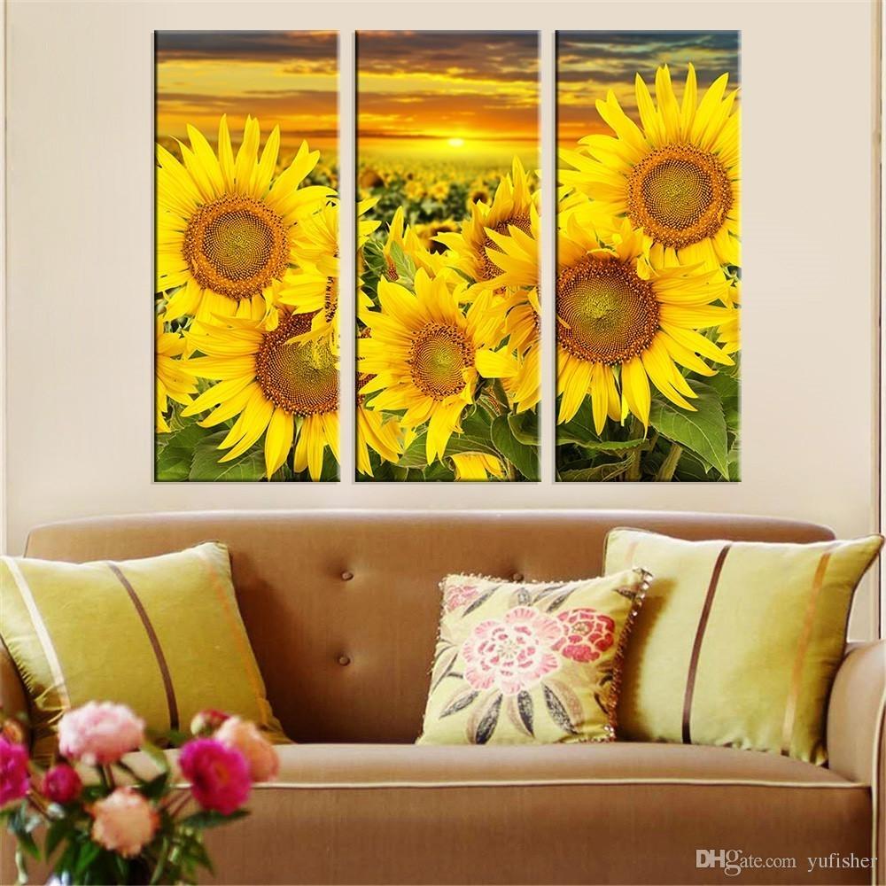 2018 Hot Canvas Prints Flower Sunflower Wall Art Painting Modern Inside Most Popular Sunflower Wall Art (View 1 of 20)