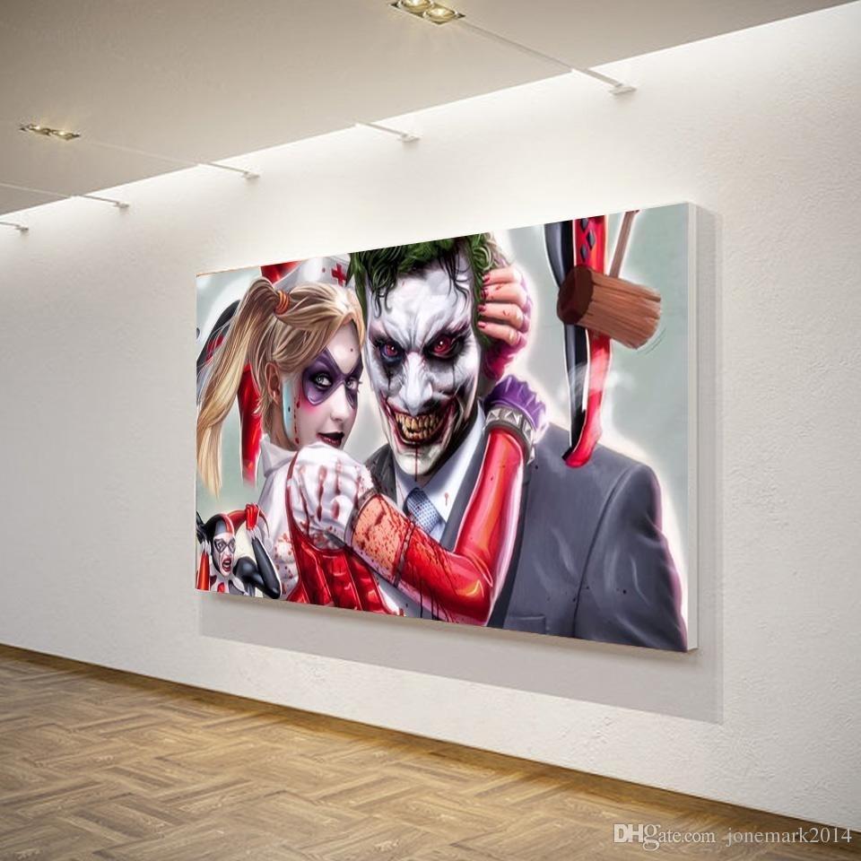 2018 Joker Harley Quinn Comics Wall Art Canvas Pictures For Living For 2018 Joker Wall Art (View 2 of 20)