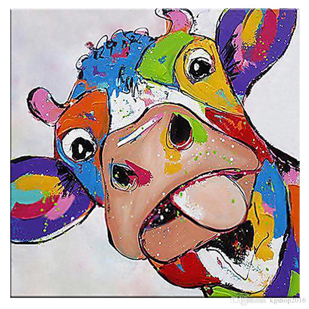 2018 Kagree Colorful Cow Head Painting Cute Animal Paintings Funny With Most Recently Released Cow Canvas Wall Art (View 2 of 20)