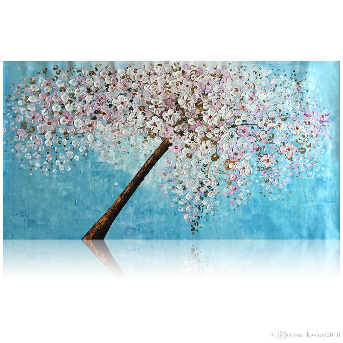2018 Kgtech Thick Textured Acrylic Paintings 3D Floral Wall Art In Most Current Floral Wall Art (Gallery 3 of 20)