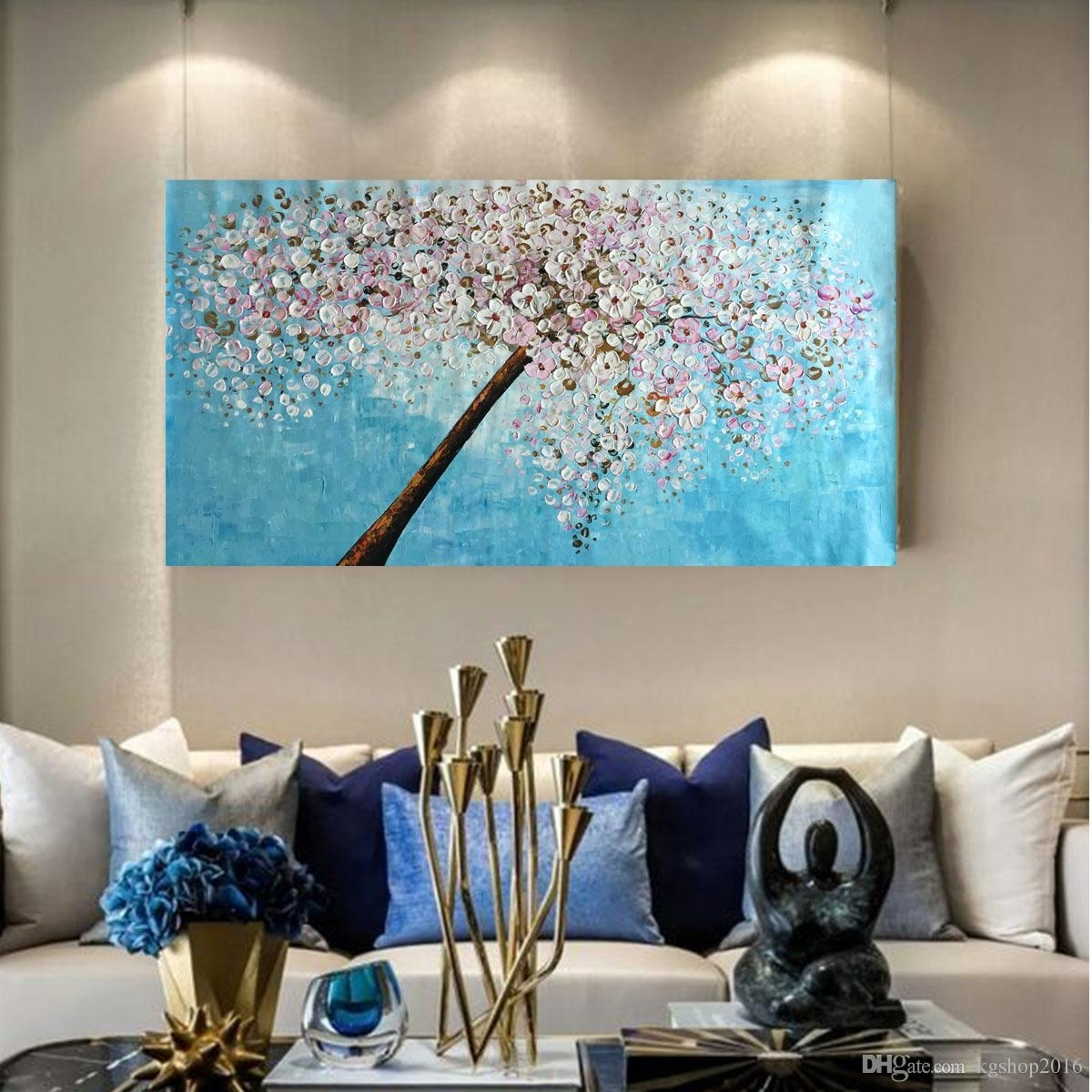 2018 Kgtech Thick Textured Acrylic Paintings 3D Floral Wall Art In Most Up To Date Acrylic Wall Art (Gallery 10 of 20)