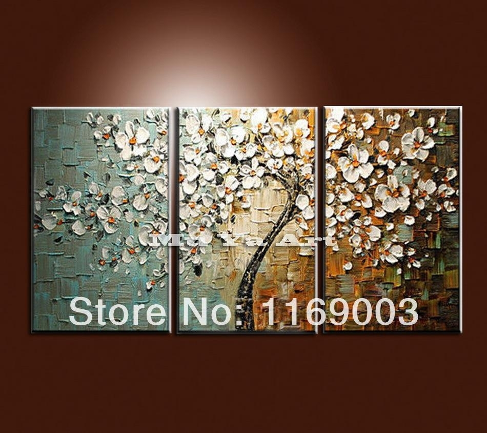 2018 Large 3 Panel Wall Art Abstract White Flower Tree Of Life Throughout Most Recent Flower Wall Art (Gallery 6 of 20)