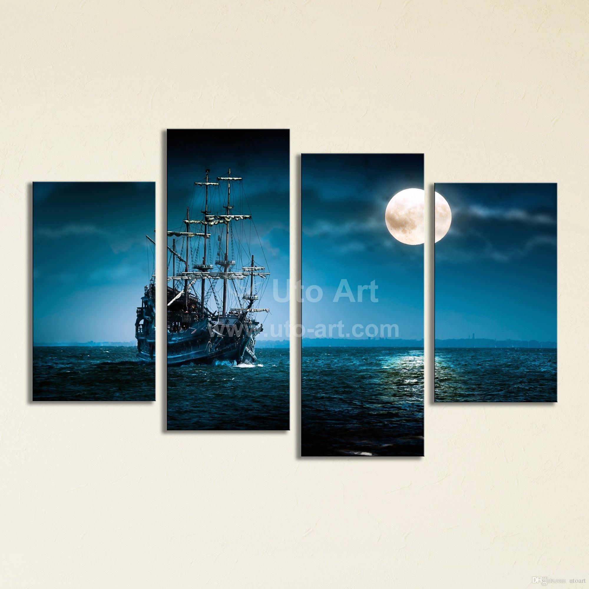 2018 Large 4 Panel Wall Art Painting Sailing Ship Canvas Wall Regarding 2018 Turquoise Wall Art (Gallery 7 of 20)
