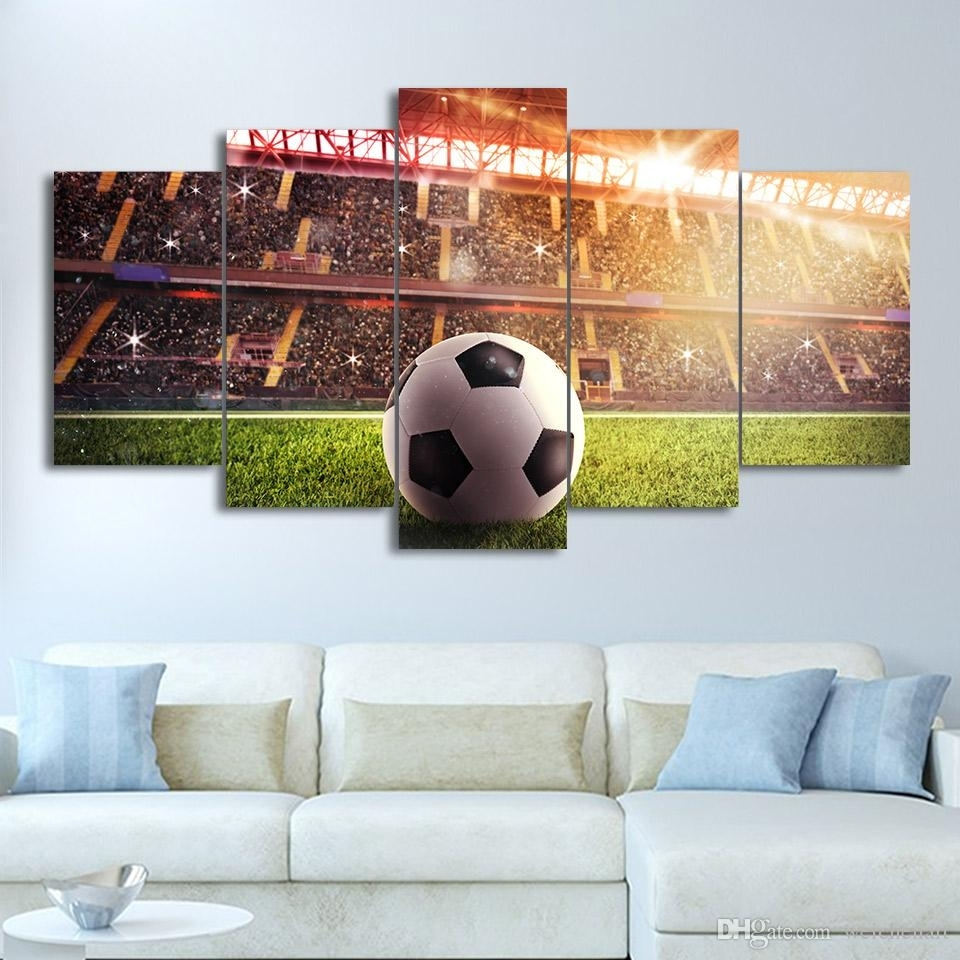 2018 Large 5 Panel Sport Wall Art Print Wall Art Football Field With Regard To Most Up To Date Large Framed Canvas Wall Art (View 2 of 20)