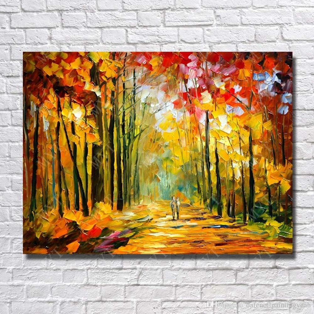 2018 Large Canvas Paintings Knife Tree Landscape Oil Painting Wall With Regard To Most Popular Large Canvas Painting Wall Art (View 10 of 20)